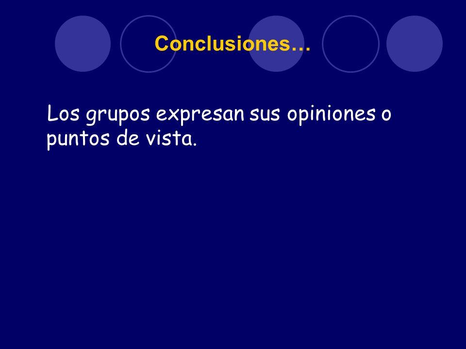 Conclusiones… Los grupos expresan sus opiniones o puntos de vista.