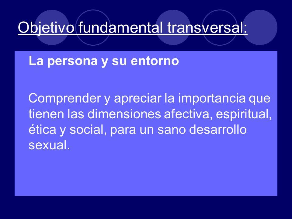 Objetivo fundamental transversal: La persona y su entorno Comprender y apreciar la importancia que tienen las dimensiones afectiva, espiritual, ética y social, para un sano desarrollo sexual.