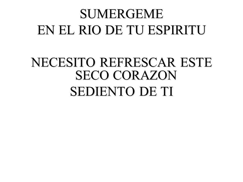 SUMERGEME EN EL RIO DE TU ESPIRITU NECESITO REFRESCAR ESTE SECO CORAZON SEDIENTO DE TI