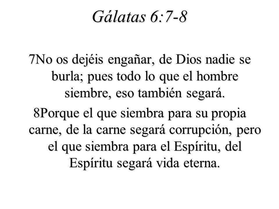 Gálatas 6:7-8 7No os dejéis engañar, de Dios nadie se burla; pues todo lo que el hombre siembre, eso también segará. 8Porque el que siembra para su pr