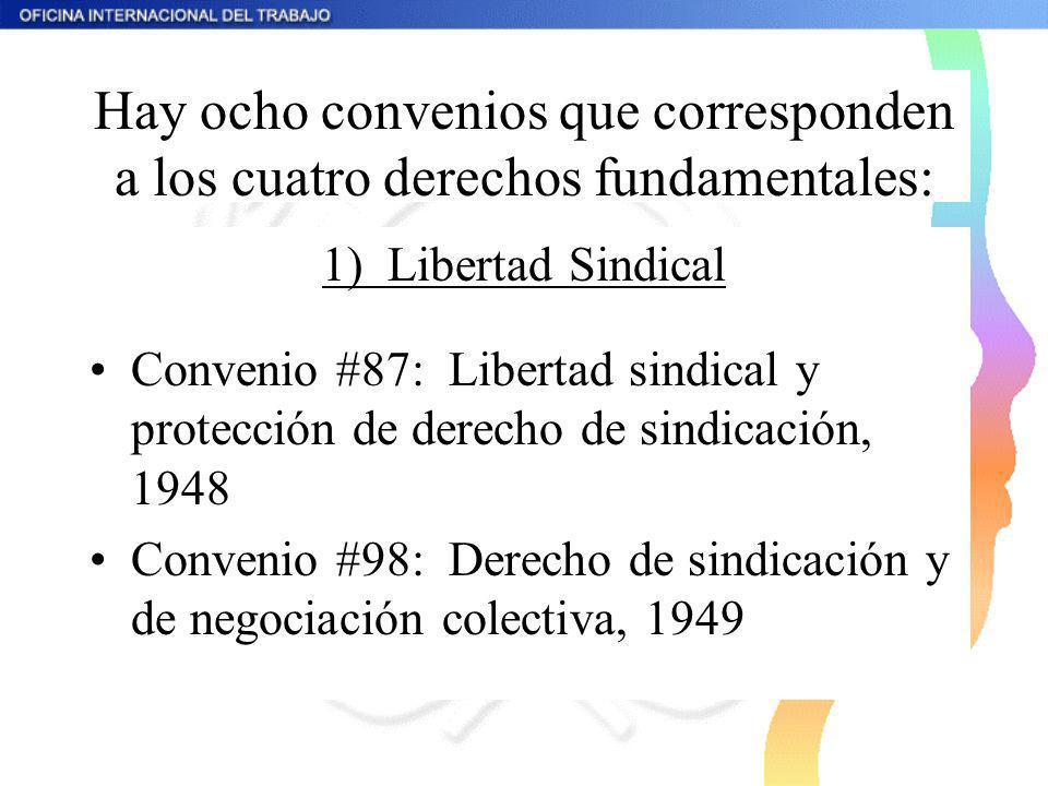 Hay ocho convenios que corresponden a los cuatro derechos fundamentales: 1) Libertad Sindical Convenio #87: Libertad sindical y protección de derecho