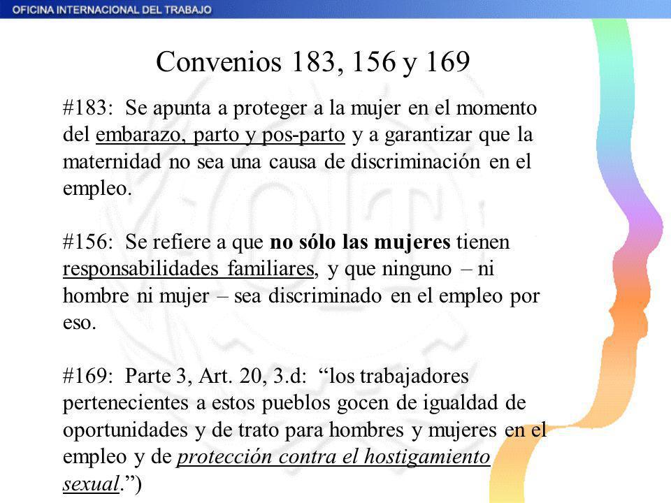 Convenios 183, 156 y 169 #183: Se apunta a proteger a la mujer en el momento del embarazo, parto y pos-parto y a garantizar que la maternidad no sea u