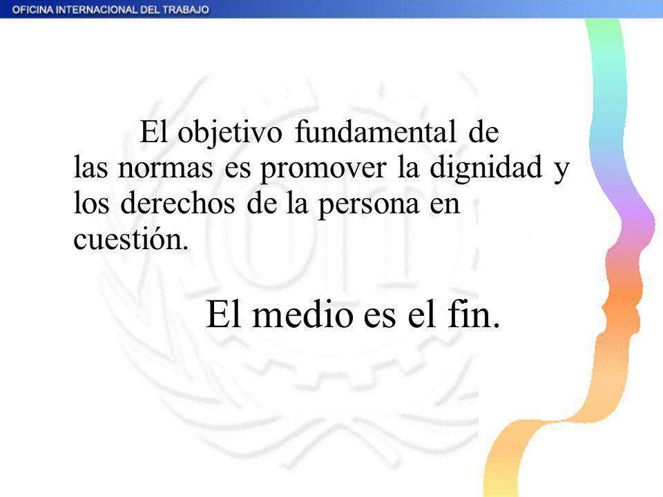 El objetivo fundamental de las normas es promover la dignidad y los derechos de la persona en cuestión. El medio es el fin.