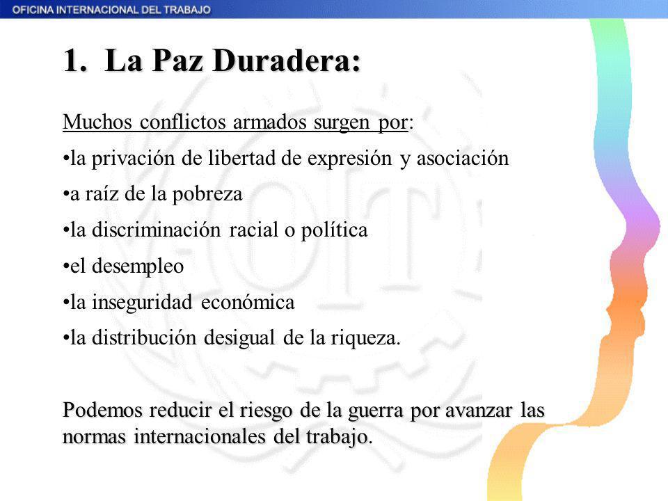 1. La Paz Duradera: Muchos conflictos armados surgen por: la privación de libertad de expresión y asociación a raíz de la pobreza la discriminación ra