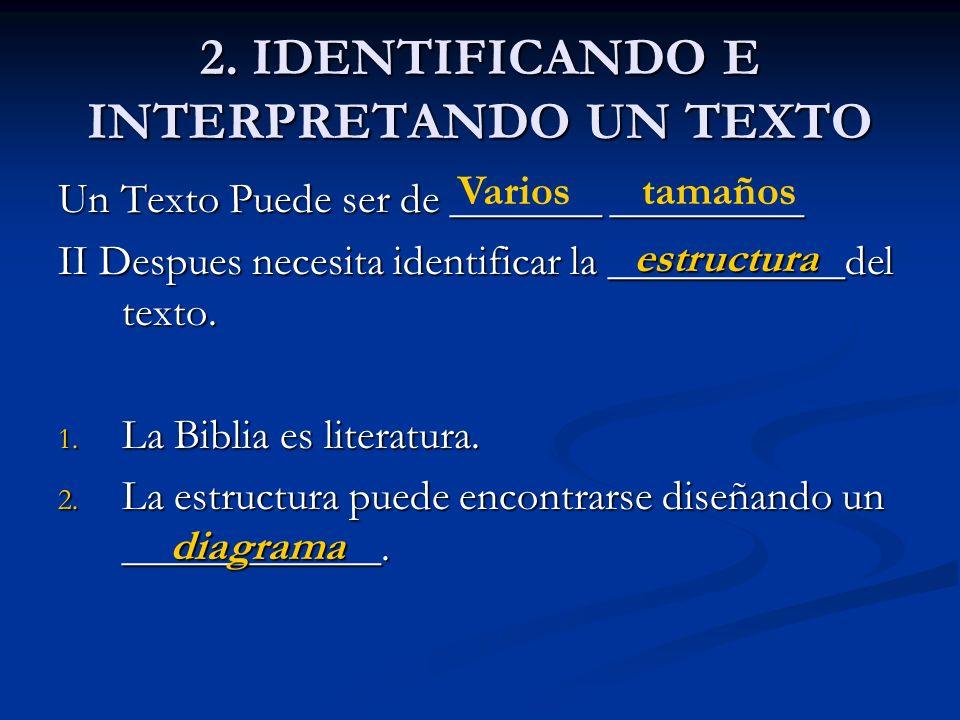 2. IDENTIFICANDO E INTERPRETANDO UN TEXTO Un Texto Puede ser de _______ _________ II Despues necesita identificar la ___________del texto. 1. La Bibli