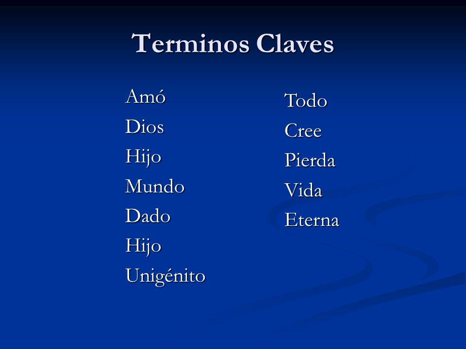 Terminos Claves AmóDiosHijoMundoDadoHijoUnigénito TodoCreePierdaVidaEterna