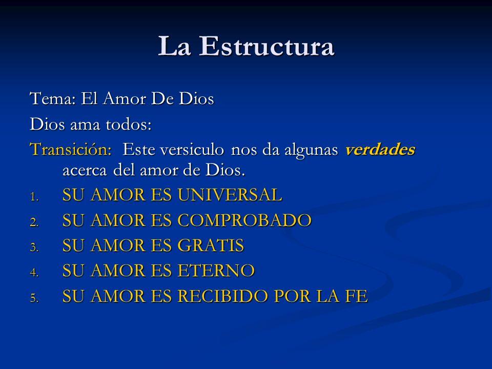 La Estructura Tema: El Amor De Dios Dios ama todos: Transición: Este versiculo nos da algunas verdades acerca del amor de Dios. 1. SU AMOR ES UNIVERSA
