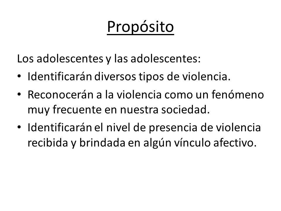 Propósito Los adolescentes y las adolescentes: Identificarán diversos tipos de violencia. Reconocerán a la violencia como un fenómeno muy frecuente en