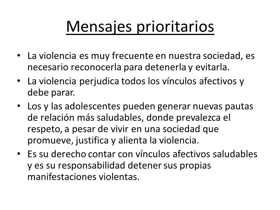 Mensajes prioritarios La violencia es muy frecuente en nuestra sociedad, es necesario reconocerla para detenerla y evitarla. La violencia perjudica to