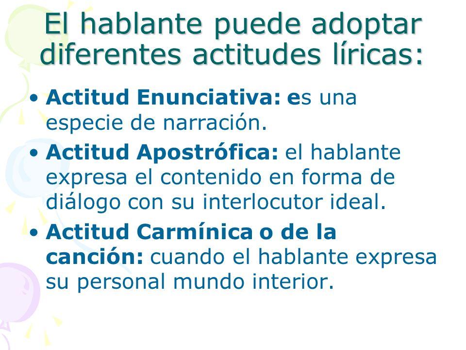 El hablante puede adoptar diferentes actitudes líricas: Actitud Enunciativa: es una especie de narración. Actitud Apostrófica: el hablante expresa el