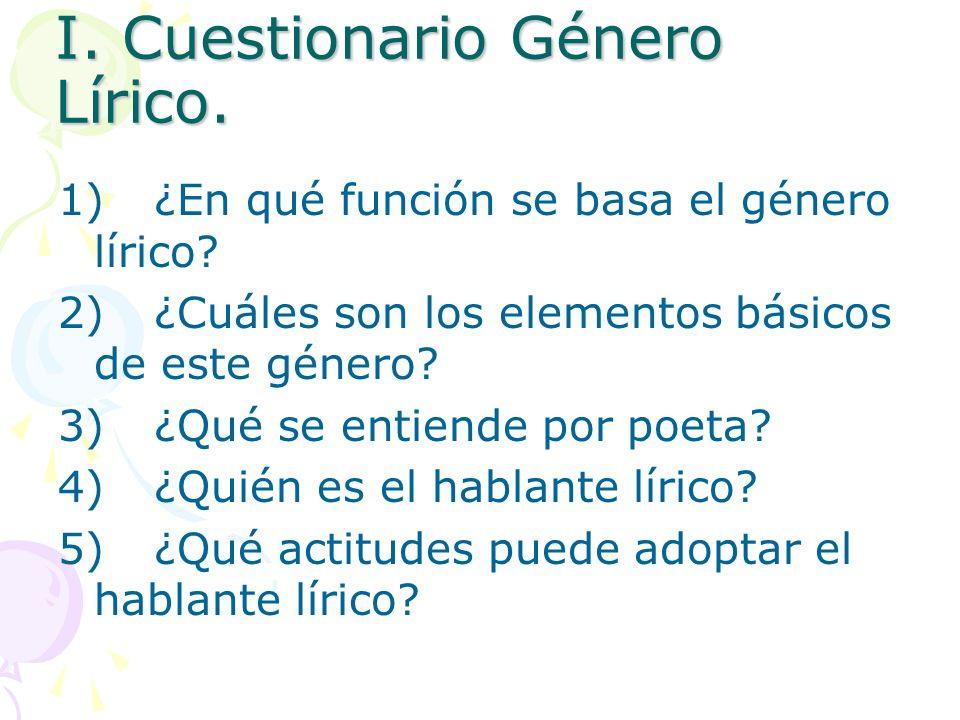 I. Cuestionario Género Lírico. 1)¿En qué función se basa el género lírico? 2)¿Cuáles son los elementos básicos de este género? 3)¿Qué se entiende por