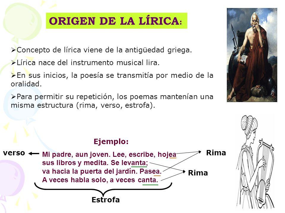 ORIGEN DE LA LÍRICA : Concepto de lírica viene de la antigüedad griega. Lírica nace del instrumento musical lira. En sus inicios, la poesía se transmi