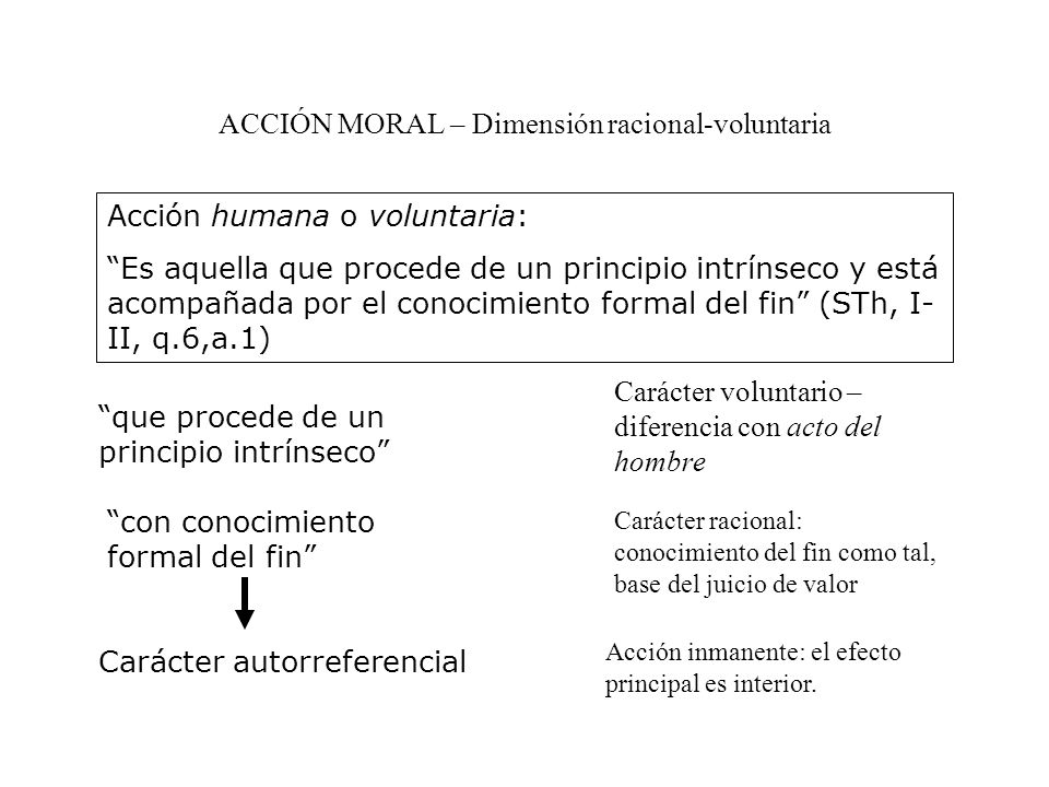 ACCIÓN MORAL – Dimensión racional-voluntaria Acción humana o voluntaria: Es aquella que procede de un principio intrínseco y está acompañada por el conocimiento formal del fin (STh, I- II, q.6,a.1) que procede de un principio intrínseco Carácter voluntario – diferencia con acto del hombre con conocimiento formal del fin Carácter racional: conocimiento del fin como tal, base del juicio de valor Carácter autorreferencial Acción inmanente: el efecto principal es interior.