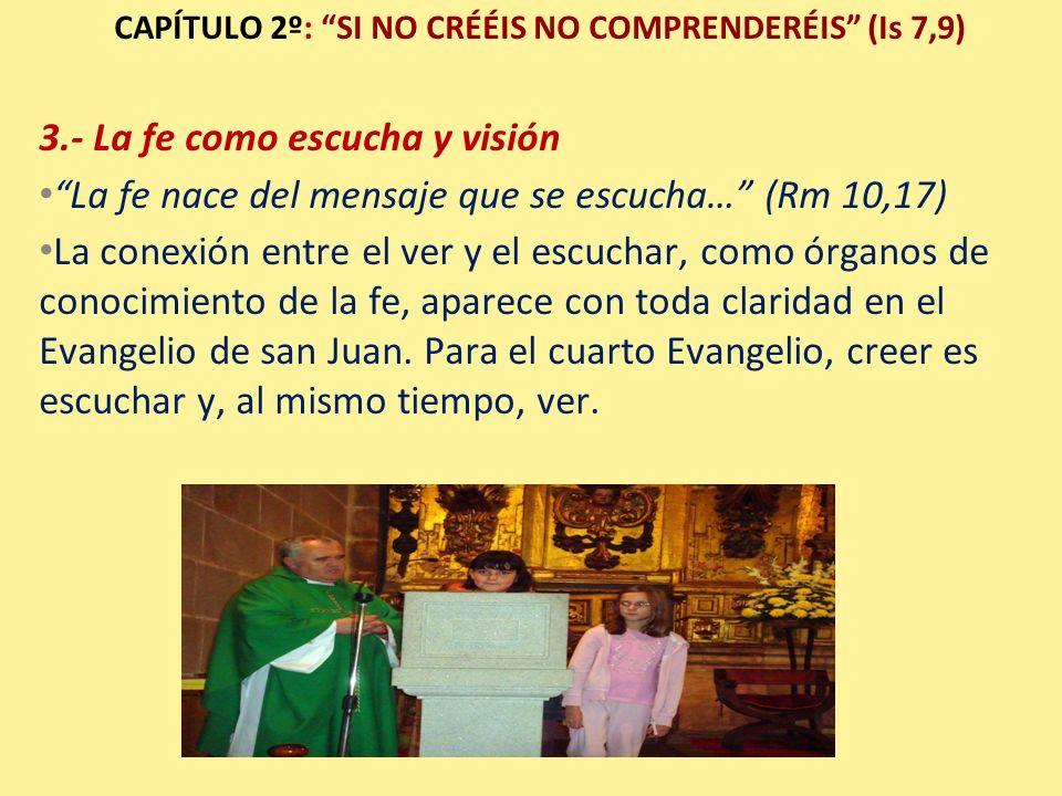 CAPÍTULO 2º: SI NO CRÉÉIS NO COMPRENDERÉIS (Is 7,9) 3.- La fe como escucha y visión La fe nace del mensaje que se escucha… (Rm 10,17) La conexión entr