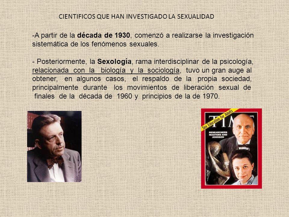 -A partir de la década de 1930, comenzó a realizarse la investigación sistemática de los fenómenos sexuales. - Posteriormente, la Sexología, rama inte