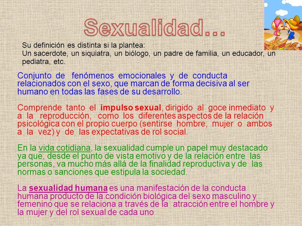 Conjunto de fenómenos emocionales y de conducta relacionados con el sexo, que marcan de forma decisiva al ser humano en todas las fases de su desarrol