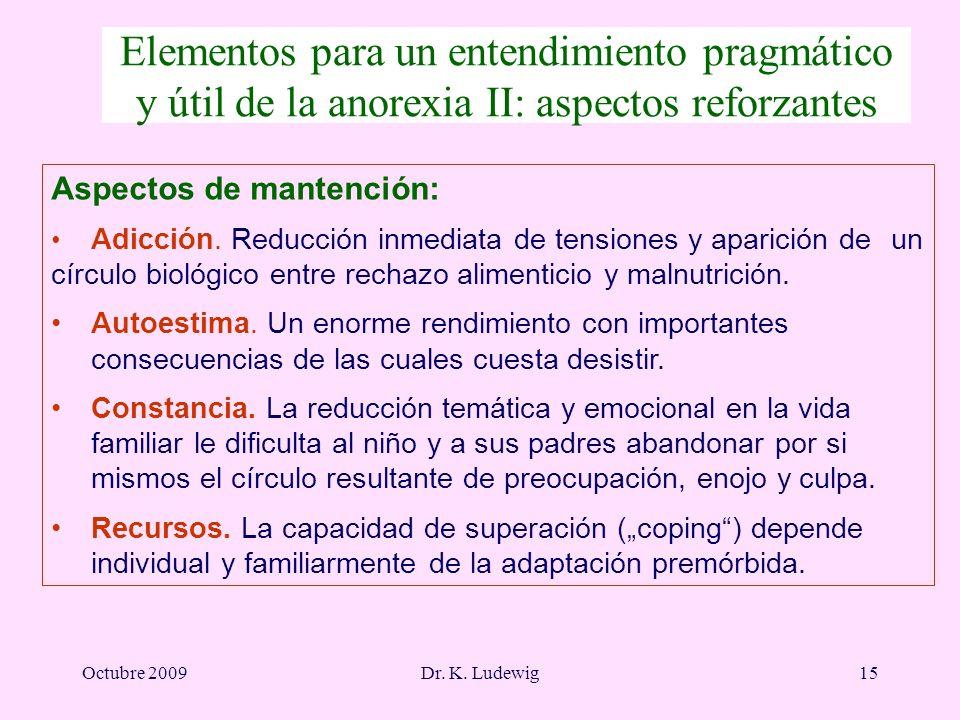 Octubre 2009Dr. K. Ludewig15 Aspectos de mantención: Adicción. Reducción inmediata de tensiones y aparición de un círculo biológico entre rechazo alim