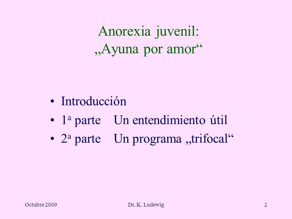 Octubre 2009Dr. K. Ludewig2 Anorexia juvenil: Ayuna por amor Introducción 1 a parte Un entendimiento útil 2 a parte Un programa trifocal