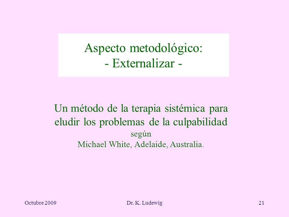 Octubre 2009Dr. K. Ludewig21 Aspecto metodológico: - Externalizar - Un método de la terapia sistémica para eludir los problemas de la culpabilidad seg