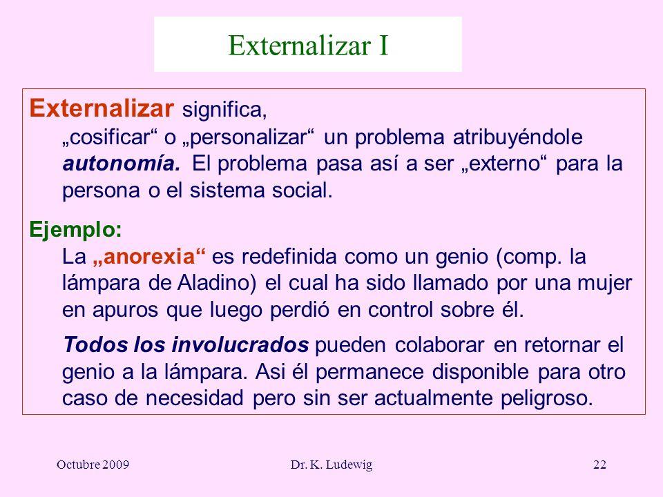 Octubre 2009Dr. K. Ludewig22 Externalizar I Externalizar significa, cosificar o personalizar un problema atribuyéndole autonomía. El problema pasa así
