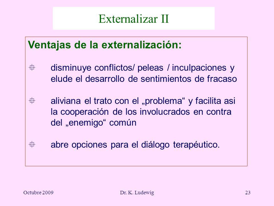 Octubre 2009Dr. K. Ludewig23 Ventajas de la externalización: ° disminuye conflictos/ peleas / inculpaciones y elude el desarrollo de sentimientos de f