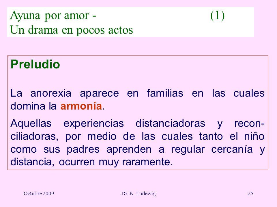 Octubre 2009Dr. K. Ludewig25 Preludio La anorexia aparece en familias en las cuales domina la armonía. Aquellas experiencias distanciadoras y recon- c