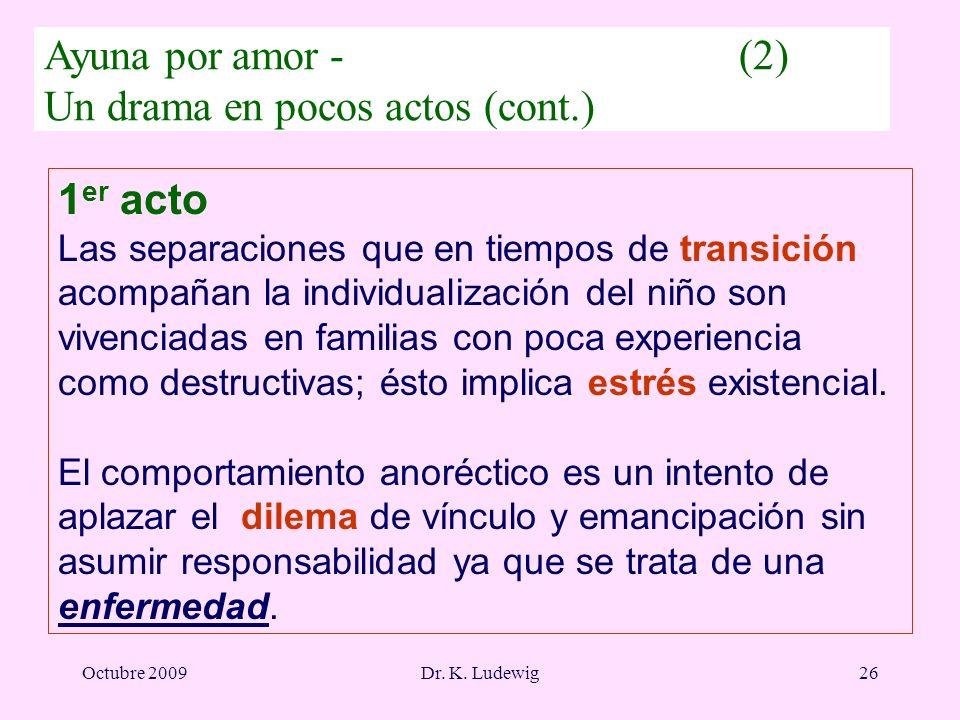 Octubre 2009Dr. K. Ludewig26 1 er acto Las separaciones que en tiempos de transición acompañan la individualización del niño son vivenciadas en famili