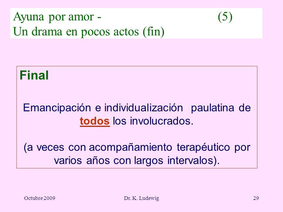 Octubre 2009Dr. K. Ludewig29 Final Emancipación e individualización paulatina de todos los involucrados. (a veces con acompañamiento terapéutico por v