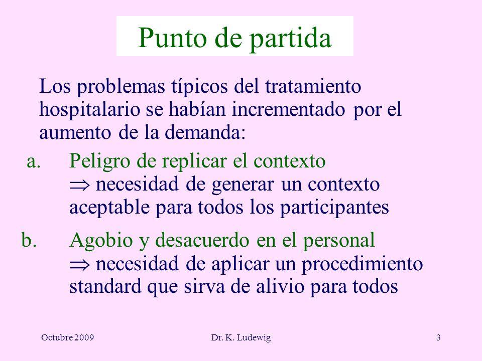Octubre 2009Dr. K. Ludewig3 Punto de partida Los problemas típicos del tratamiento hospitalario se habían incrementado por el aumento de la demanda: a