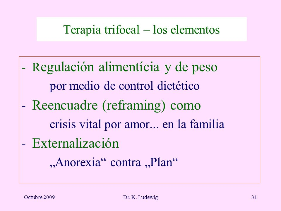 Octubre 2009Dr. K. Ludewig31 Terapia trifocal – los elementos -R egulación alimentícia y de peso por medio de control dietético - Reencuadre (reframin