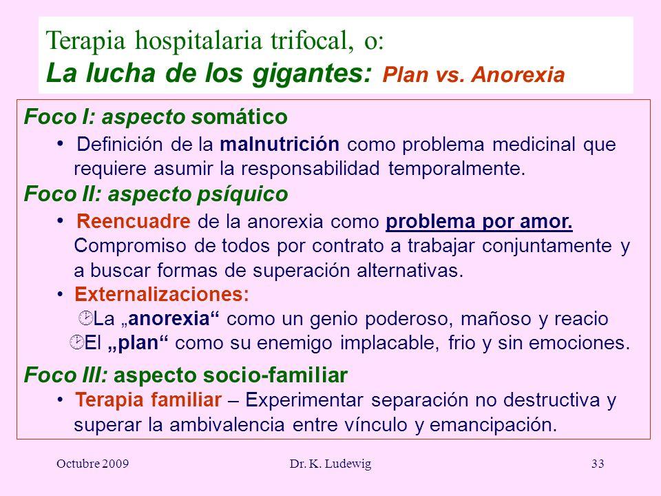 Octubre 2009Dr. K. Ludewig33 Foco I: aspecto somático Definición de la malnutrición como problema medicinal que requiere asumir la responsabilidad tem