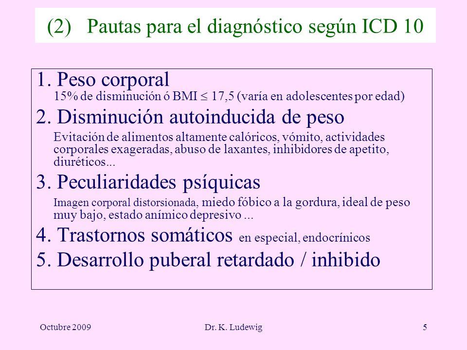 Octubre 2009Dr. K. Ludewig5 (2) Pautas para el diagnóstico según ICD 10 1. Peso corporal 15% de disminución ó BMI 17,5 (varía en adolescentes por edad