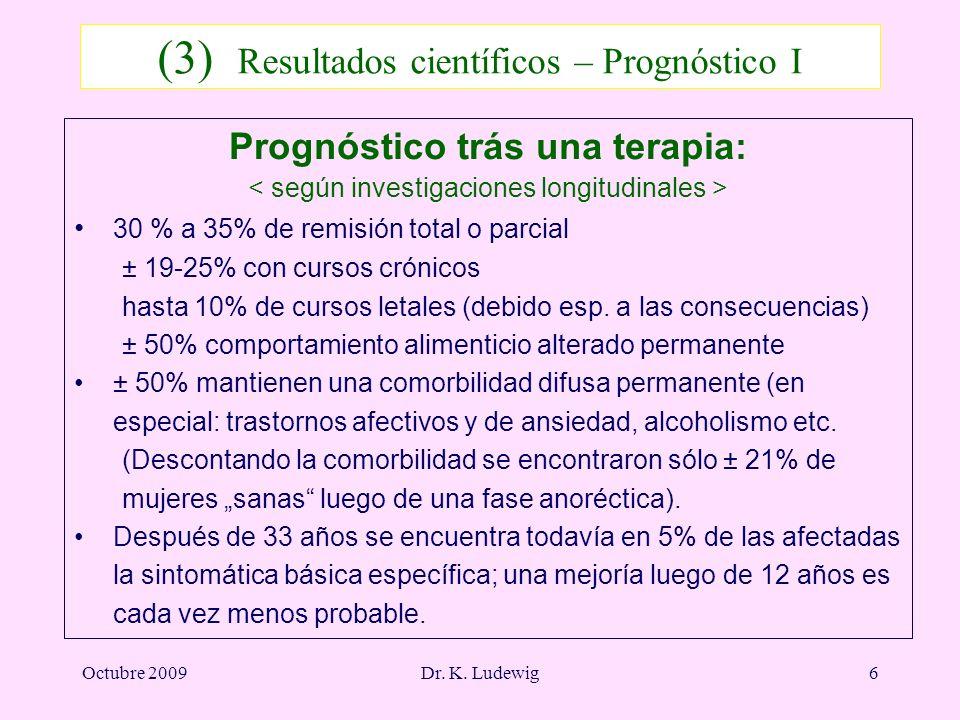 Octubre 2009Dr. K. Ludewig6 (3) Resultados científicos – Prognóstico I Prognóstico trás una terapia: 30 % a 35% de remisión total o parcial ± 19-25% c