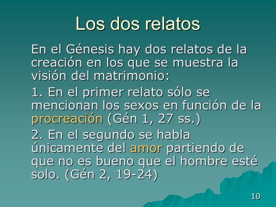 10 Los dos relatos En el Génesis hay dos relatos de la creación en los que se muestra la visión del matrimonio: En el Génesis hay dos relatos de la cr