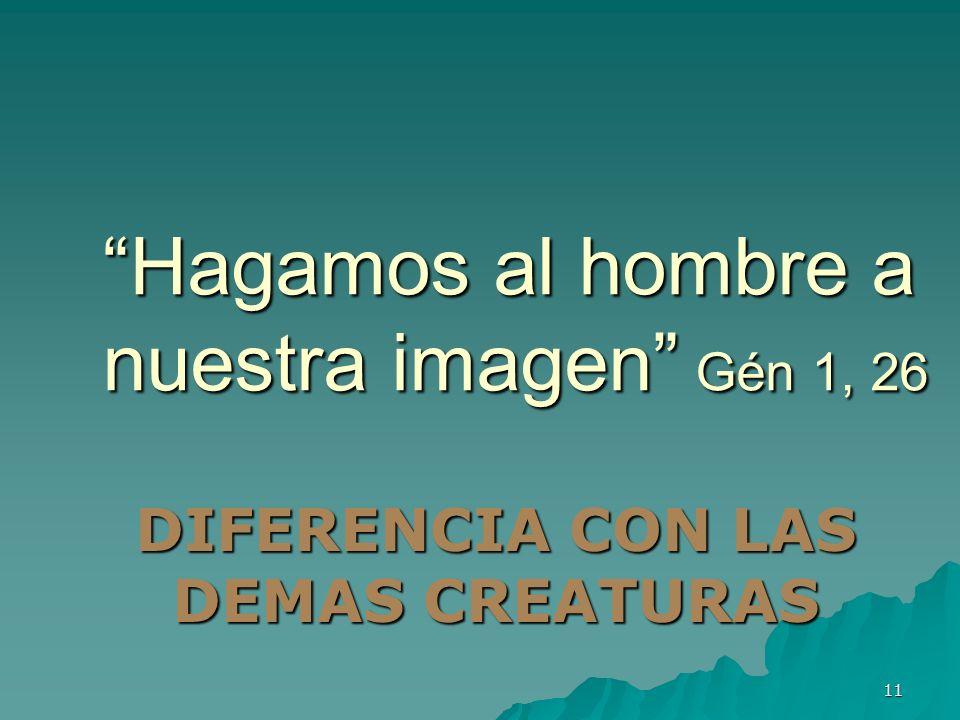 11 Hagamos al hombre a nuestra imagen Gén 1, 26 DIFERENCIA CON LAS DEMAS CREATURAS