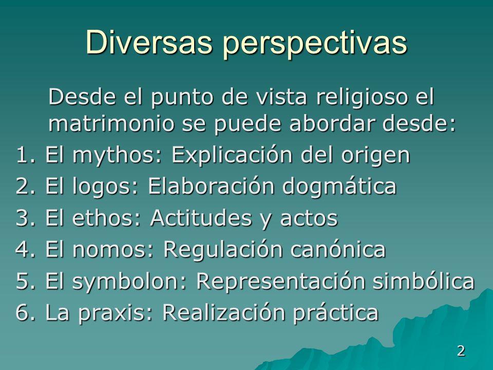 2 Diversas perspectivas Desde el punto de vista religioso el matrimonio se puede abordar desde: Desde el punto de vista religioso el matrimonio se pue