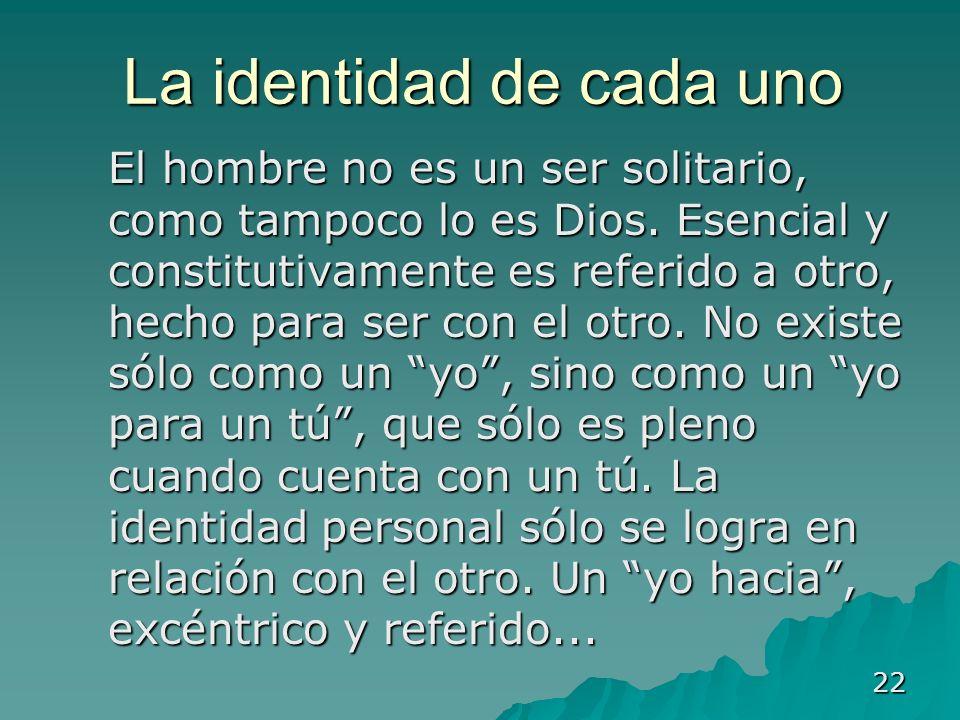 22 La identidad de cada uno El hombre no es un ser solitario, como tampoco lo es Dios. Esencial y constitutivamente es referido a otro, hecho para ser