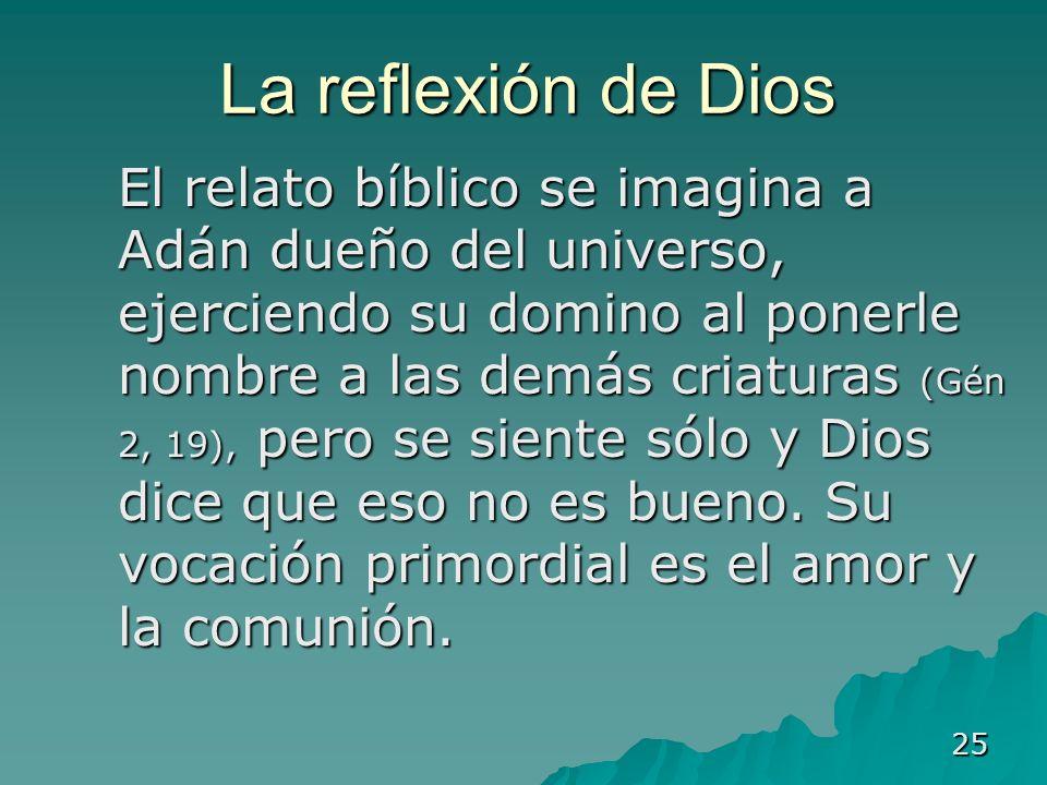 25 La reflexión de Dios El relato bíblico se imagina a Adán dueño del universo, ejerciendo su domino al ponerle nombre a las demás criaturas (Gén 2, 1
