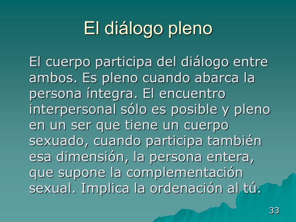 33 El diálogo pleno El cuerpo participa del diálogo entre ambos. Es pleno cuando abarca la persona íntegra. El encuentro interpersonal sólo es posible