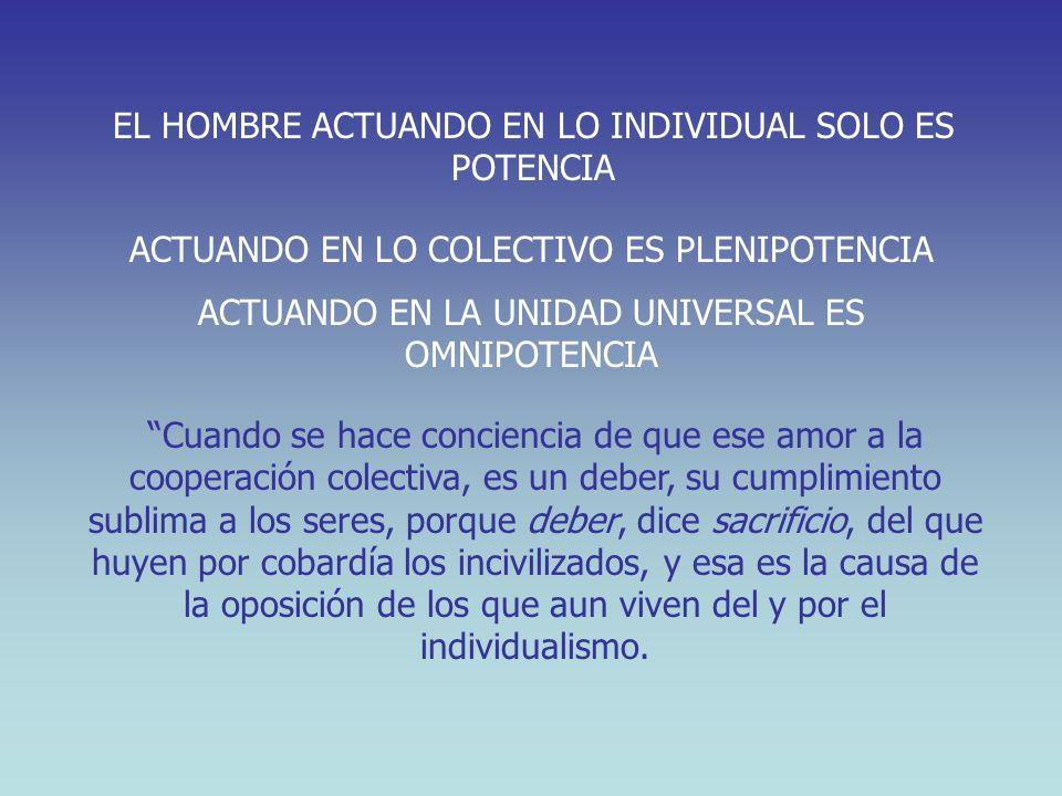 Cuando se hace conciencia de que ese amor a la cooperación colectiva, es un deber, su cumplimiento sublima a los seres, porque deber, dice sacrificio,