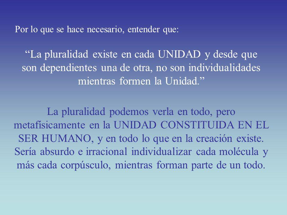 La pluralidad existe en cada UNIDAD y desde que son dependientes una de otra, no son individualidades mientras formen la Unidad. La pluralidad podemos