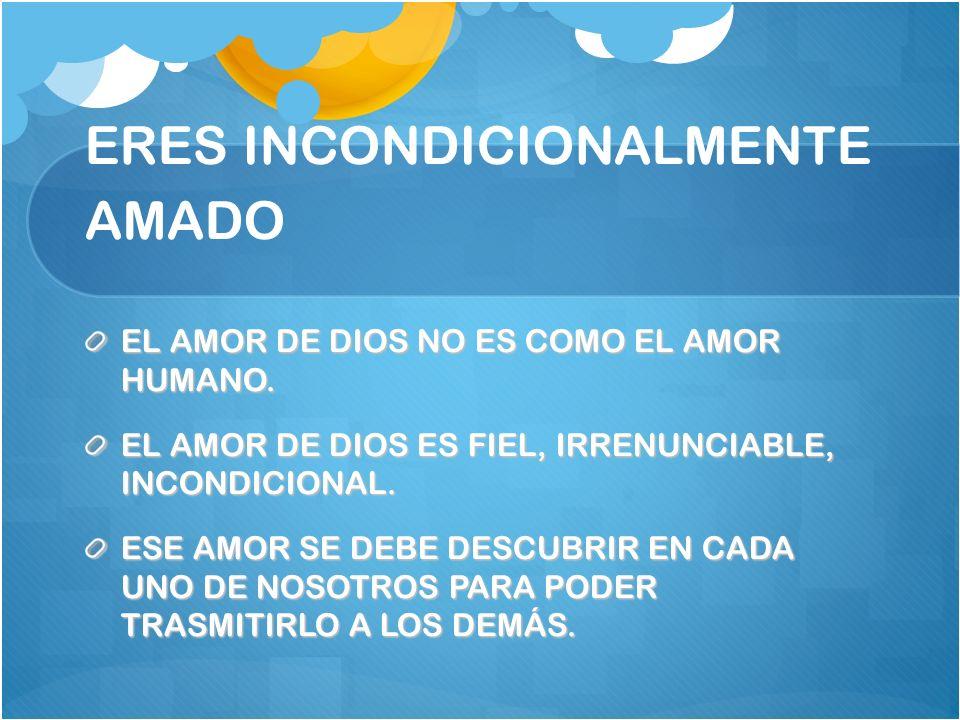 ERES INCONDICIONALMENTE AMADO EL AMOR DE DIOS NO ES COMO EL AMOR HUMANO. EL AMOR DE DIOS ES FIEL, IRRENUNCIABLE, INCONDICIONAL. ESE AMOR SE DEBE DESCU