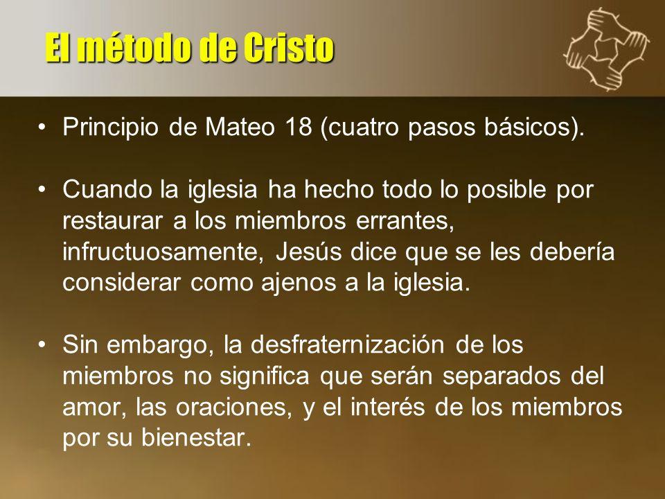 Principio de Mateo 18 (cuatro pasos básicos). Cuando la iglesia ha hecho todo lo posible por restaurar a los miembros errantes, infructuosamente, Jesú