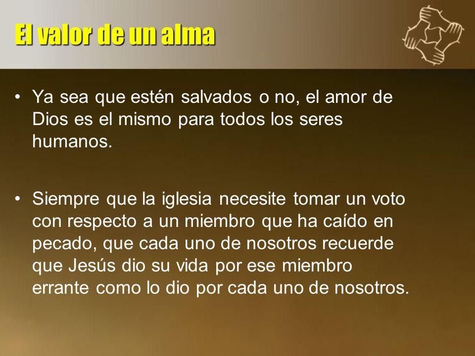 Ya sea que estén salvados o no, el amor de Dios es el mismo para todos los seres humanos. Siempre que la iglesia necesite tomar un voto con respecto a