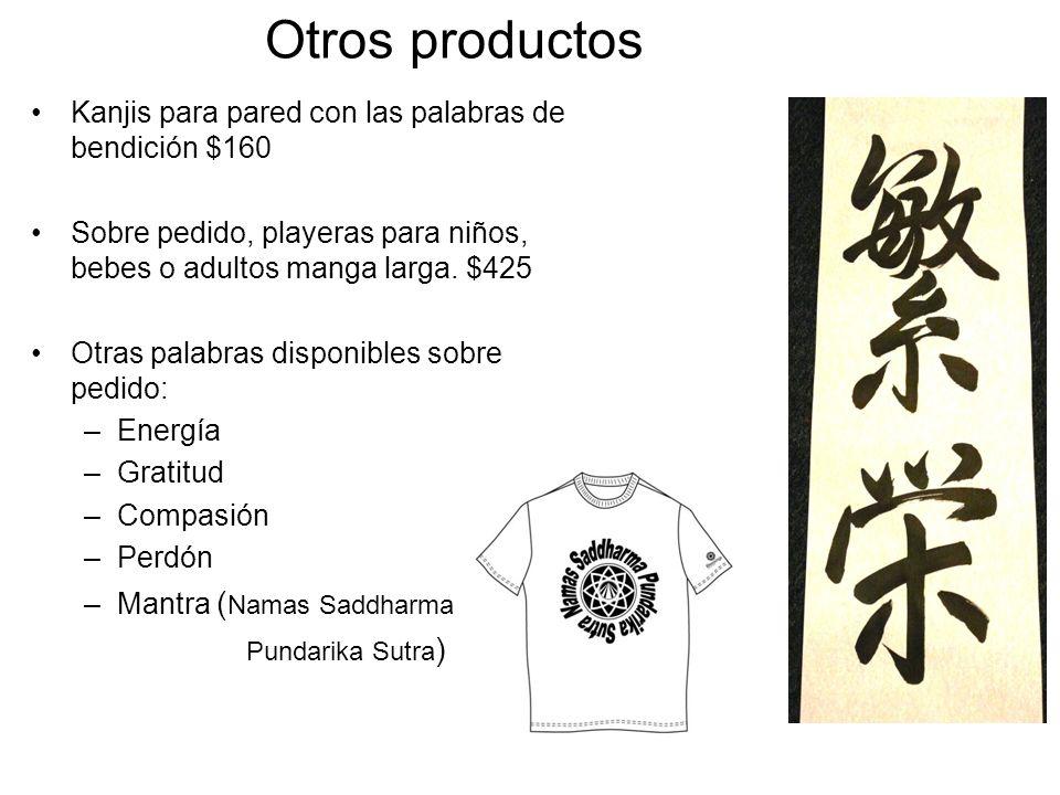 Otros productos Kanjis para pared con las palabras de bendición $160 Sobre pedido, playeras para niños, bebes o adultos manga larga. $425 Otras palabr