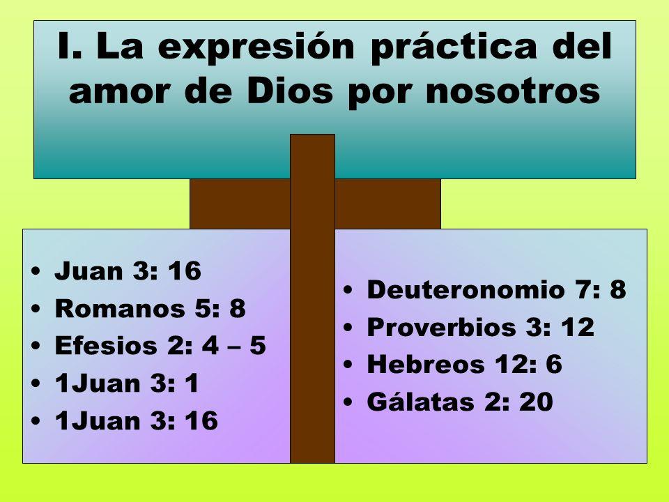 I. La expresión práctica del amor de Dios por nosotros Juan 3: 16 Romanos 5: 8 Efesios 2: 4 – 5 1Juan 3: 1 1Juan 3: 16 Deuteronomio 7: 8 Proverbios 3: