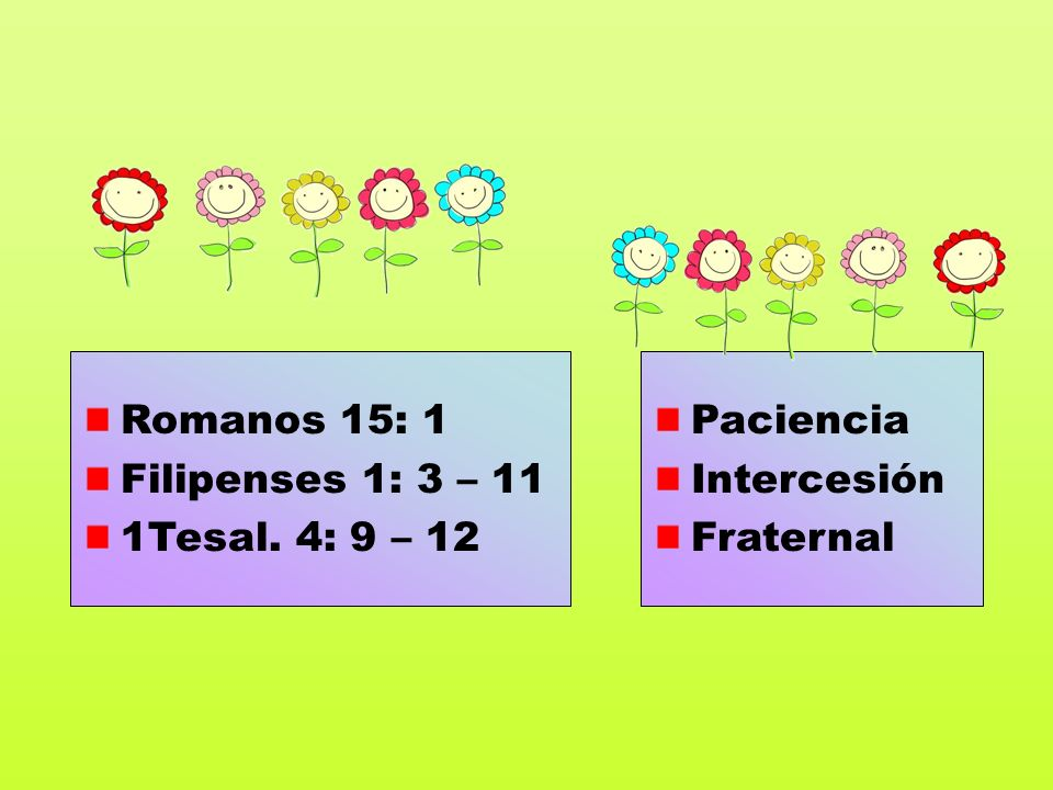 Romanos 15: 1 Filipenses 1: 3 – 11 1Tesal. 4: 9 – 12 Paciencia Intercesión Fraternal