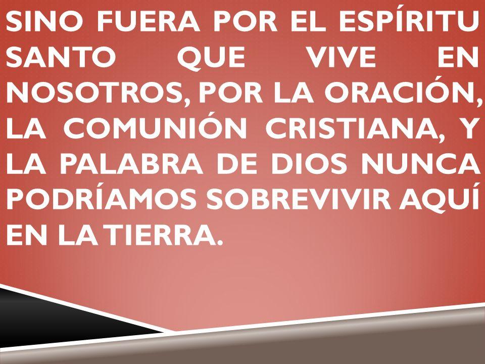 SINO FUERA POR EL ESPÍRITU SANTO QUE VIVE EN NOSOTROS, POR LA ORACIÓN, LA COMUNIÓN CRISTIANA, Y LA PALABRA DE DIOS NUNCA PODRÍAMOS SOBREVIVIR AQUÍ EN