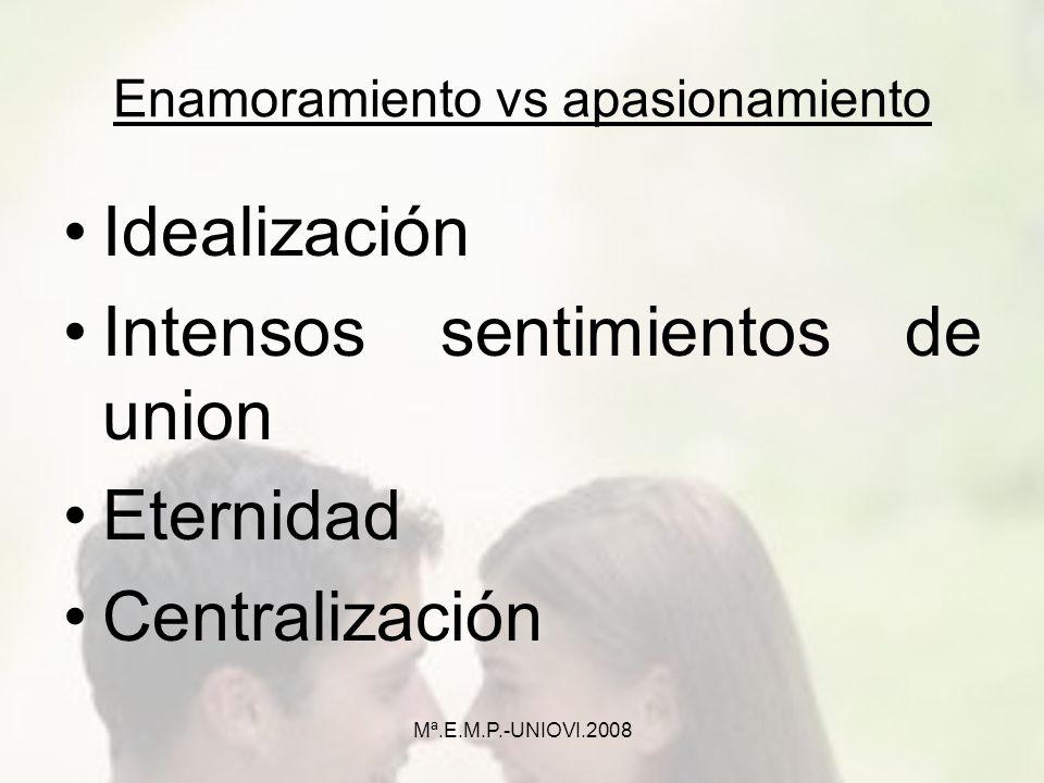 Enamoramiento vs apasionamiento Idealización Intensos sentimientos de union Eternidad Centralización Mª.E.M.P.-UNIOVI.2008