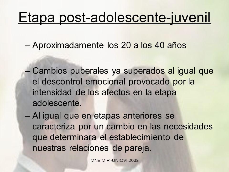 Etapa post-adolescente-juvenil –Aproximadamente los 20 a los 40 años –Cambios puberales ya superados al igual que el descontrol emocional provocado po